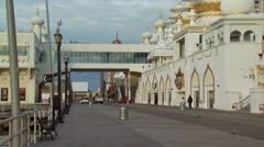 Tourists near Trump Taj Mahal Casino Resort Stock Footage