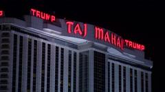 Trump Taj Mahal Casino Resort at night Stock Footage