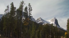 View of three sisters mountain in Canmore Stock Footage