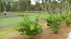 People playing in tennis court Stock Footage