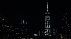 ONE WORLD TRADE CENTER AT NIGHT Stock Footage