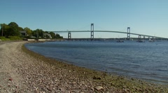 View of Newport Bridge Stock Footage