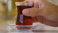 Traditional Turkish tea glass has no handle Stock Footage