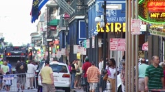 Tourists at Bourbon Street Stock Footage