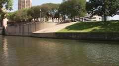 View of San Antonio River in city - stock footage