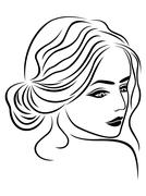 Abstract female head outline Stock Illustration
