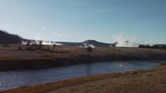 River flowing near Old Faithful geyser in Yellowstone national park - stock footage