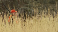 Hunters waking in ranch for pheasant hunting Stock Footage
