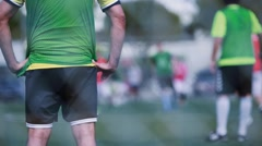 Shot from behind of goal keeper during a soccer game Stock Footage