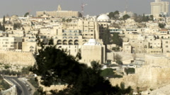 Stock Video Footage panorama of Old Jerusalem from Mt. of Olives shot in Israel Stock Footage