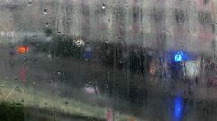 Raindrops on a windowpane Stock Footage
