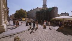 Lviv, Ukraine, 30.08.2015, Market Square (Ploshcha Rynok), Stock Footage