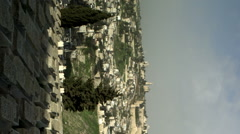 Stock Video Footage panorama of Jewish Cemetery and Old Jerusalem filmed in Stock Footage