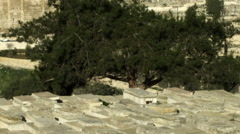 Jewish Cemetery and Old Jerusalem filmed in Israel at 4k Stock Footage
