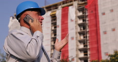 Entrepreneur Builder Construction Site Engineer Man Talk Mobile Phone Team Work Stock Footage