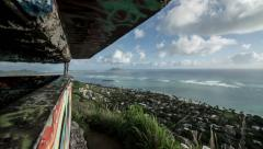 Tracking through Lanikai Pillbox, Kailua, Oahu, Hawaii Time Lapse Stock Footage
