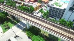 Miami metrorail tram rail Stock Footage