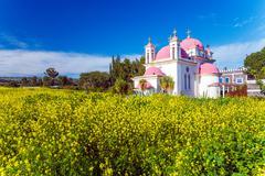 Orthodox Church and Mustard Field near Galilee Sea - stock photo