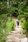 Hikers descend on trail Stock Photos