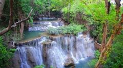 Deep forest Waterfall in Kanchanaburi, Thailand Stock Footage