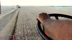 Wheat harvesting. Cabine view. - stock footage