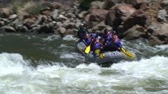 Rafters Speed into Rapids - stock footage