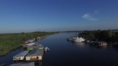 Aerial View of Floating Houses in Manaus, Amazon, Brazil Stock Footage