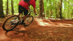 Mountain Biking Forest Trail. Outdoor Sports Healthy Lifestyle. Young Fit Man Stock Footage