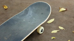 Close up of skateboard by fall leaves Stock Footage