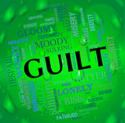 Guilt Word Represents Feels Guilty And Guiltiness Stock Illustration