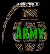 Army Word Represents Defense Forces And Armament Stock Illustration