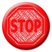 Stop Violence Shows Warning Sign And Brute - stock illustration