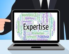 Expertise Word Represents Proficiency Words And Education Stock Illustration