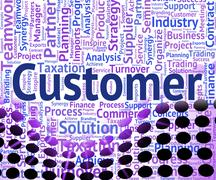 Customer Word Shows Shoppers Consumers And Consumer - stock illustration