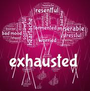 Exhausted Word Represents Tired Out And Drained Stock Illustration