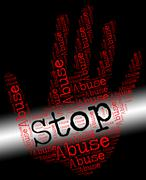Stock Illustration of Stop Abuse Represents Treat Badly And Abuses