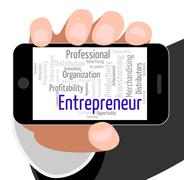 Entrepreneur Word Means Business Person And Businessman Stock Illustration