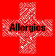 Allergies Word Shows Poor Health And Affliction Stock Illustration