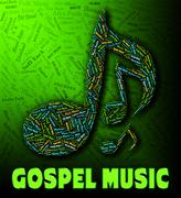 Gospel Music Represents Sound Tracks And Christian - stock illustration