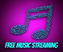 Free Music Streaming Indicates No Charge And Broadcast - stock illustration