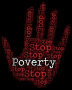 Stop Poverty Means Warning Sign And Caution Piirros