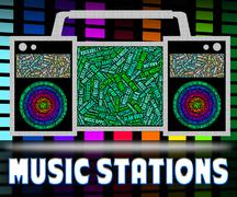 Stock Illustration of Radio Stations Represents Sound Track And Broadcast