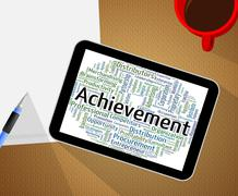 Achievement Word Means Words Achieving And Attainment Stock Illustration