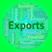 Stock Illustration of Exports Word Shows Sell Abroad And Exported