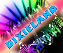 Dixieland Music Represents New Orleans Jazz And Acoustic Stock Illustration