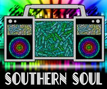 Southern Soul Means American Gospel Music And Blues - stock illustration