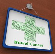 Bowel Cancer Represents Ill Health And Afflictions Stock Illustration