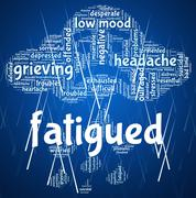 Fatigued Word Shows Lack Of Energy And Drowsiness - stock illustration