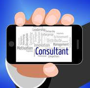Consultant Word Represents Specialist Wordcloud And Authority - stock illustration