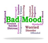 Bad Mood Shows Somber Words And Depression - stock illustration